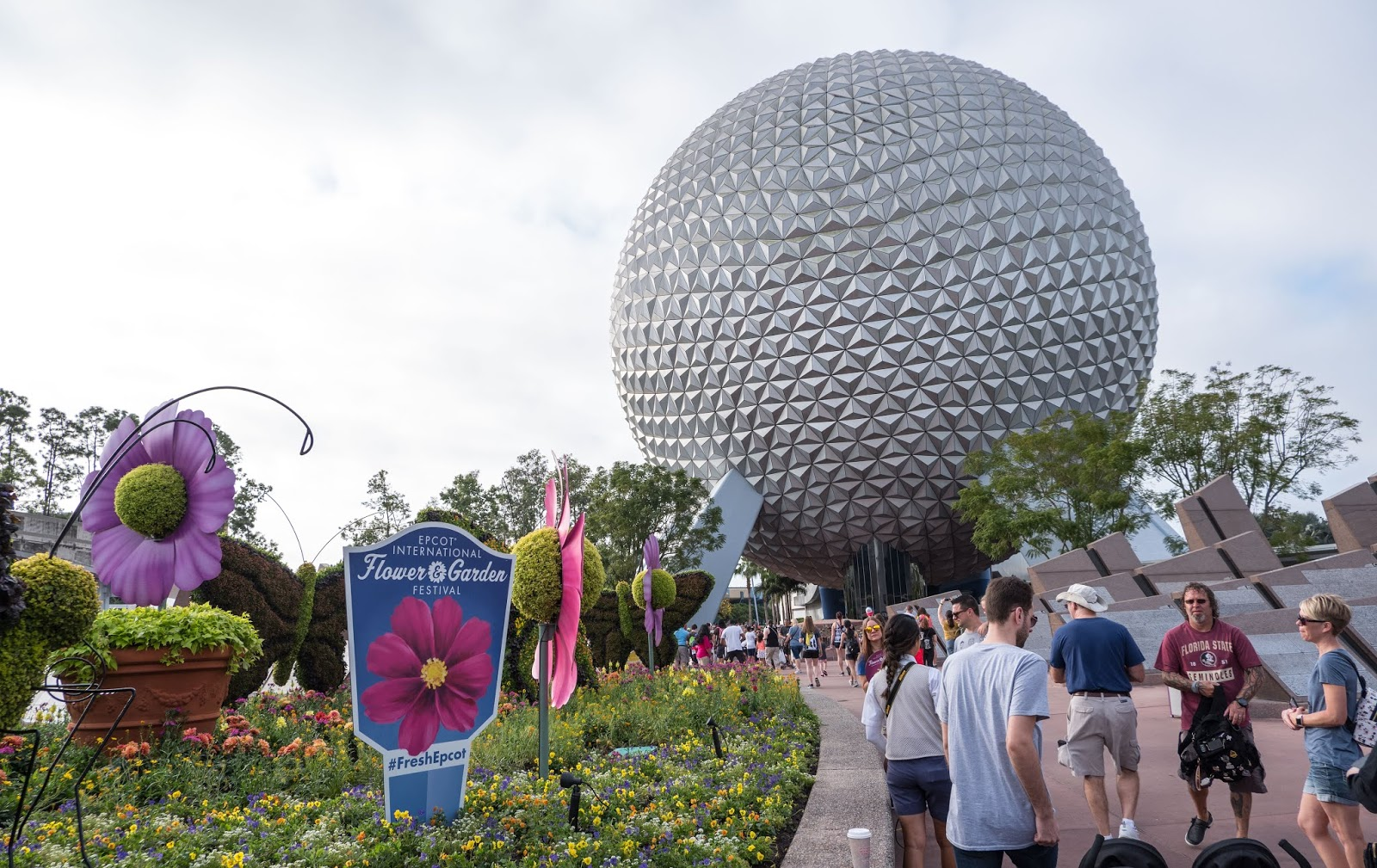 The entrance to Epcot during the 2019 Flower and Garden Festival, Walt Disney World