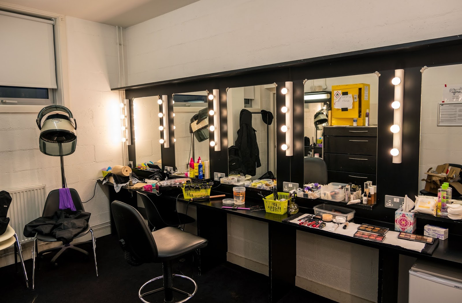 Touring the hair and make up department for A Taste Of Honey