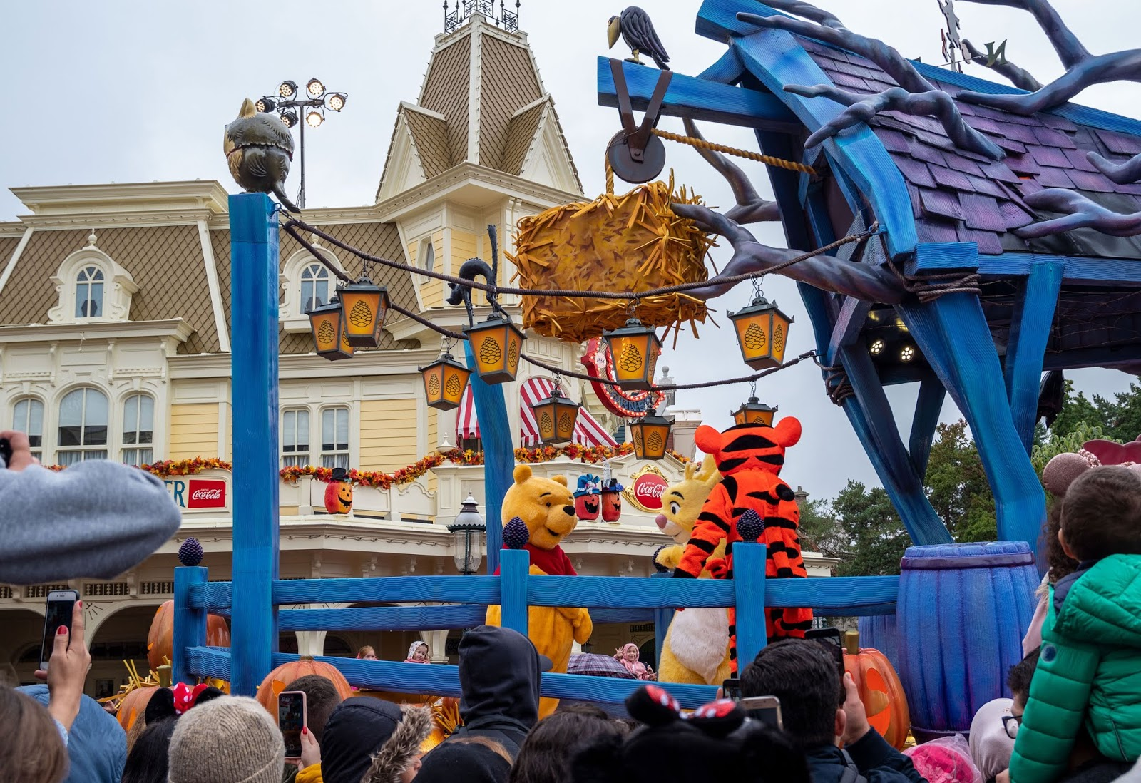 Winnie the Pooh characters in the Halloween parade at Disneyland Paris