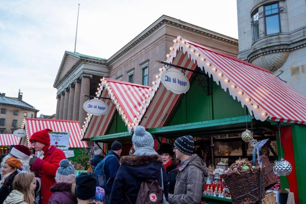 Stalls at the Hans Christian Andersen Christmas Market in Copenhagen, Denmark