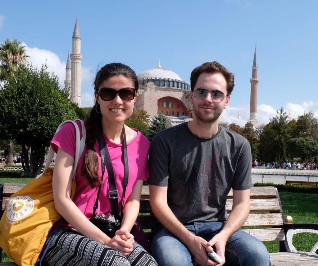 Kat and Stuart outside the Hagia Sophia in Istanbul, Turkey