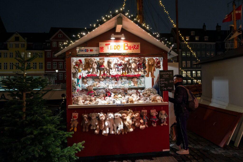 Teddy bear stall at the Nyhavn Christmas Market in Copenhagen, Denmark