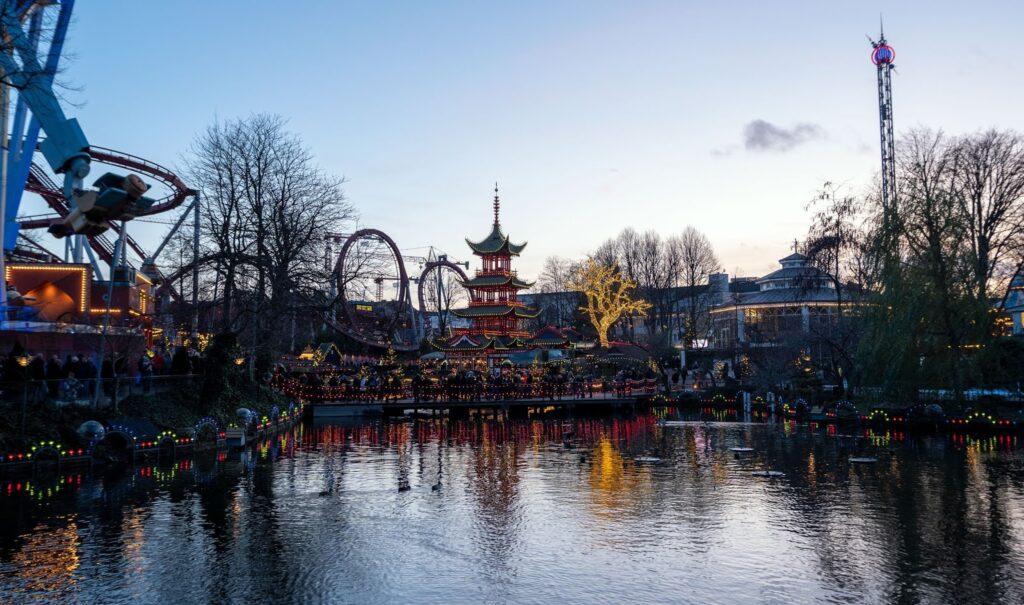 The Tivoli Lake at Tivoli Gardens in Copenhagen, Denmark