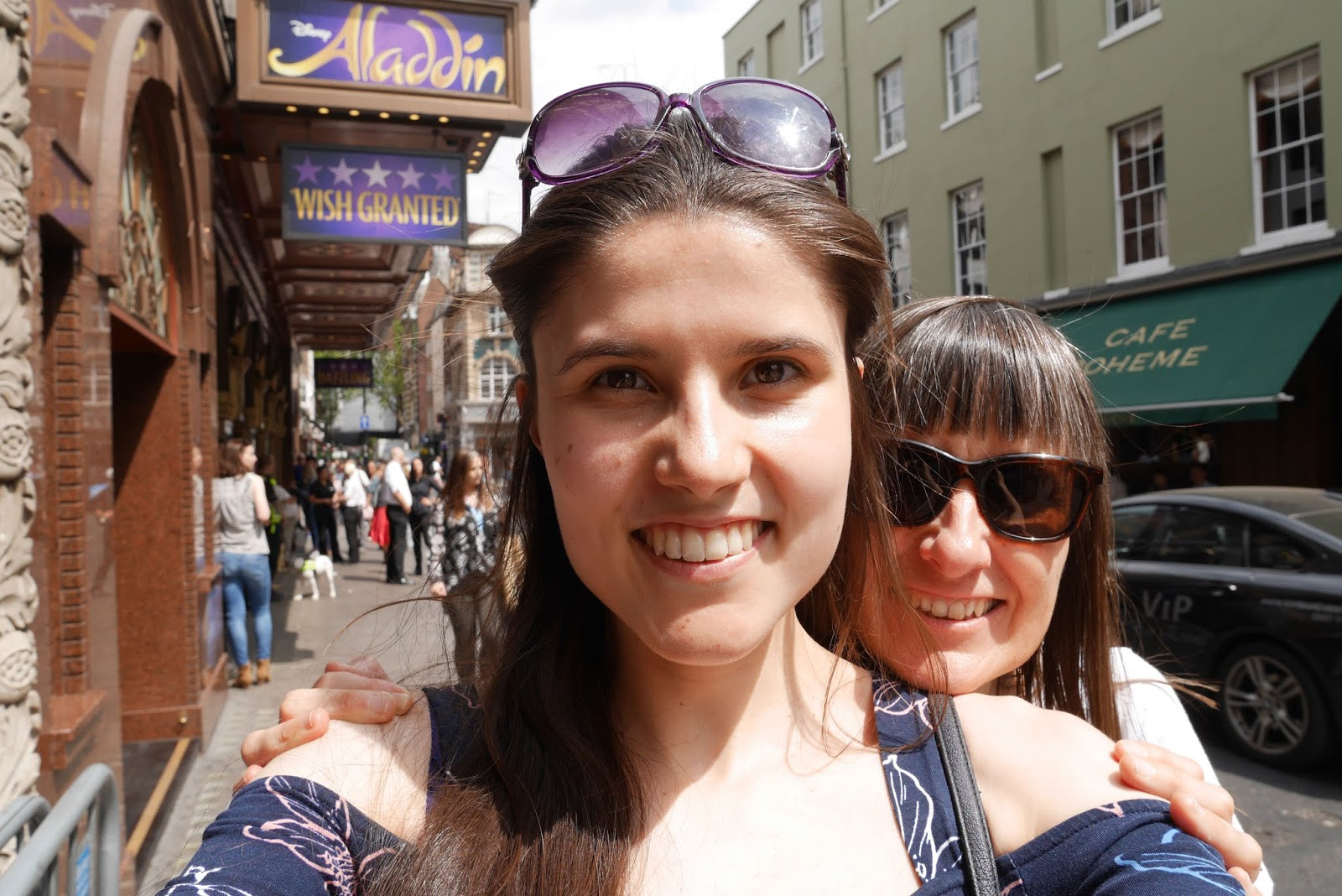 Kat Last and Mum outside the Aladdin The Musical theatre in London
